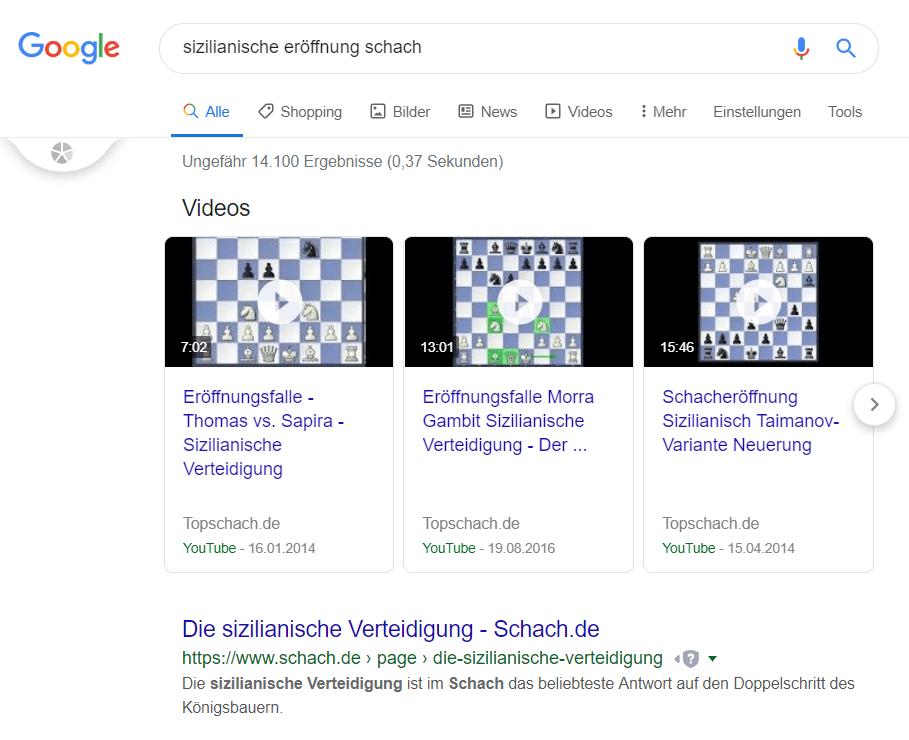 Hier zu sehen ein Featured Snippet aus der Google-Suche mit Videoinhalten
