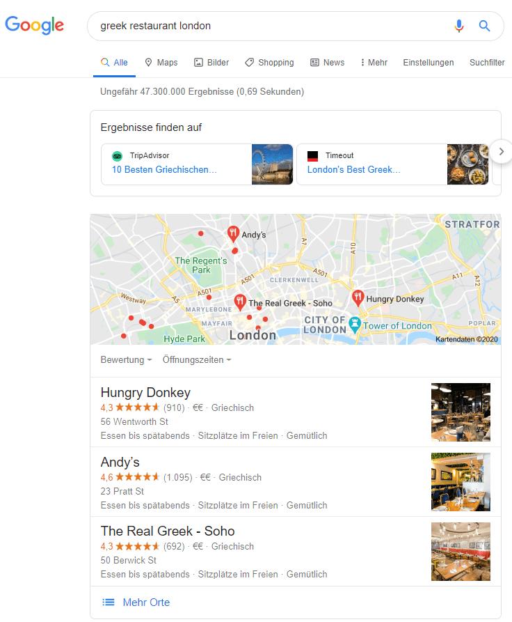 Lokale Google Suche nach griechischen Restaurants in London
