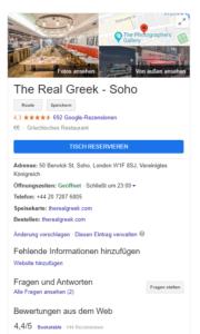 Google Local SEO Snippet eines Restaurants in London
